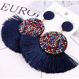 Boho tassel Round drop Fringed earrings Multicolor